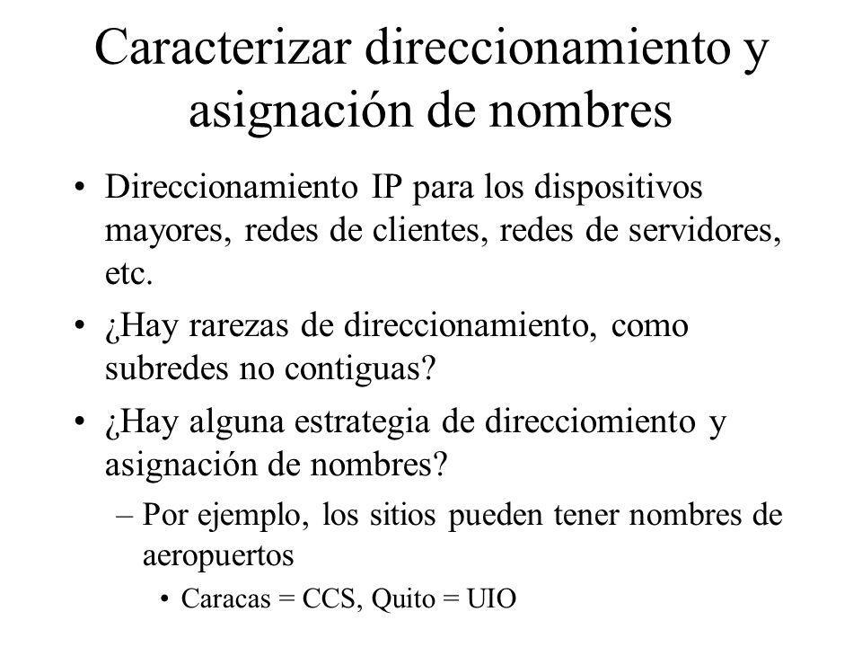 Caracterizar direccionamiento y asignación de nombres Direccionamiento IP para los dispositivos mayores, redes de clientes, redes de servidores, etc.