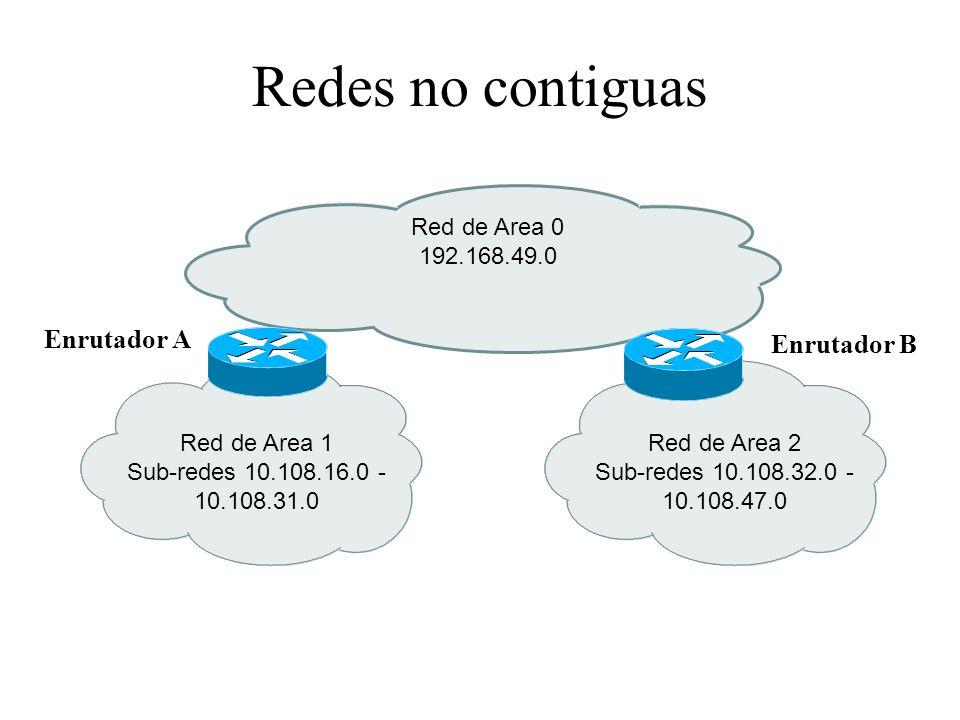 Redes no contiguas Red de Area 1 Sub-redes 10.108.16.0 - 10.108.31.0 Red de Area 0 192.168.49.0 Red de Area 2 Sub-redes 10.108.32.0 - 10.108.47.0 Enrutador A Enrutador B