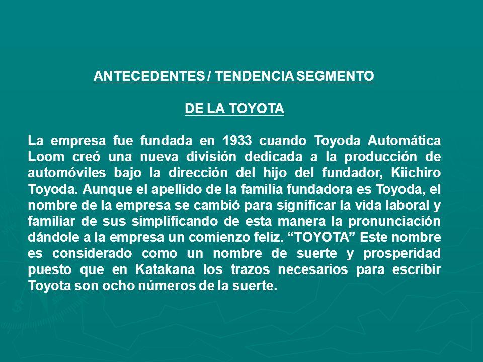 ANTECEDENTES / TENDENCIA SEGMENTO DE LA TOYOTA La empresa fue fundada en 1933 cuando Toyoda Automática Loom creó una nueva división dedicada a la producción de automóviles bajo la dirección del hijo del fundador, Kiichiro Toyoda.