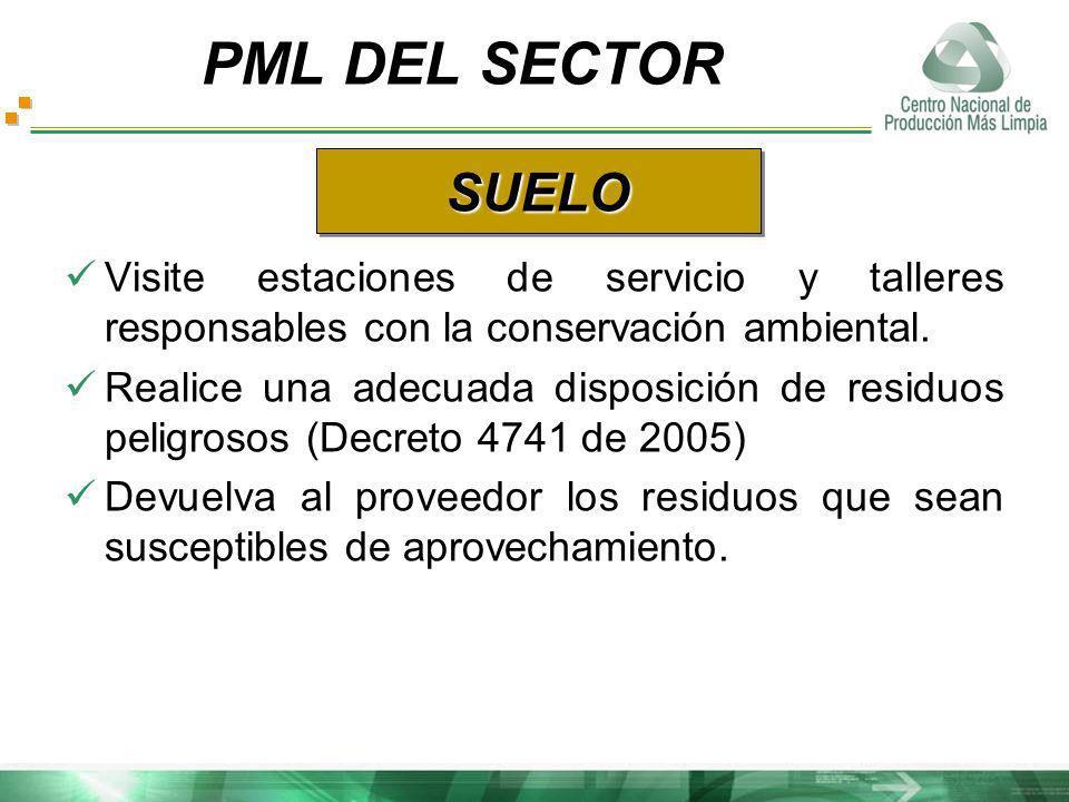 Visite estaciones de servicio y talleres responsables con la conservación ambiental. Realice una adecuada disposición de residuos peligrosos (Decreto