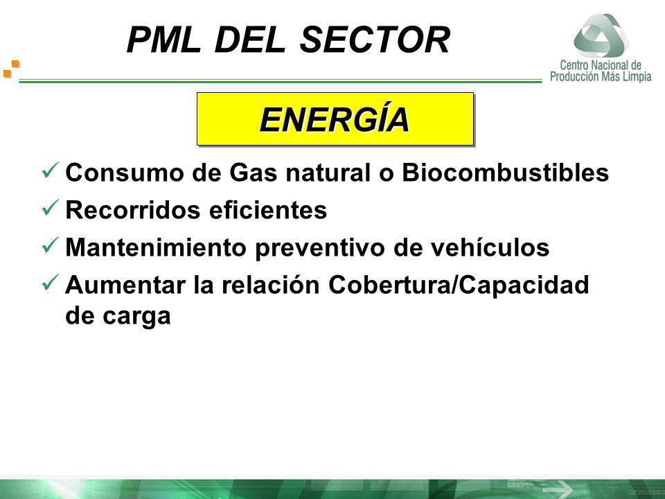 Consumo de Gas natural o Biocombustibles Recorridos eficientes Mantenimiento preventivo de vehículos Aumentar la relación Cobertura/Capacidad de carga