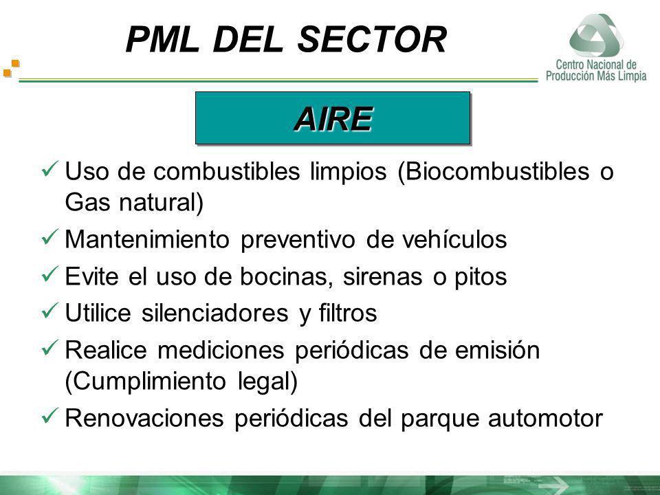 Uso de combustibles limpios (Biocombustibles o Gas natural) Mantenimiento preventivo de vehículos Evite el uso de bocinas, sirenas o pitos Utilice sil