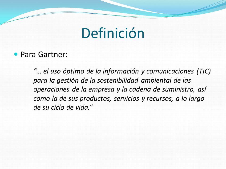 Definición Para Gartner: … el uso óptimo de la información y comunicaciones (TIC) para la gestión de la sostenibilidad ambiental de las operaciones de