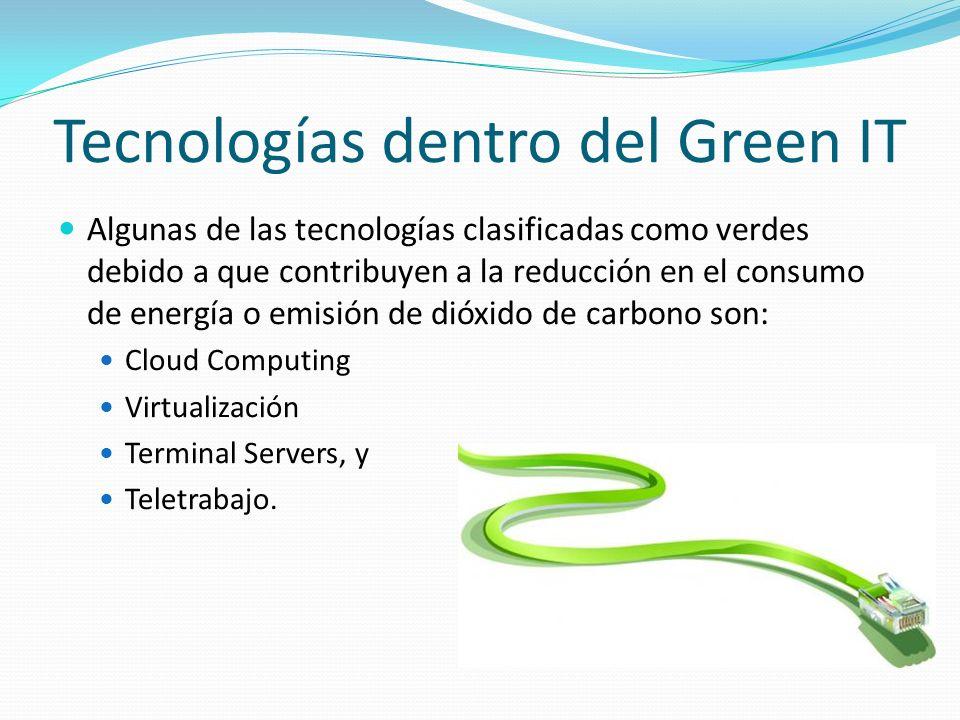 Tecnologías dentro del Green IT Algunas de las tecnologías clasificadas como verdes debido a que contribuyen a la reducción en el consumo de energía o