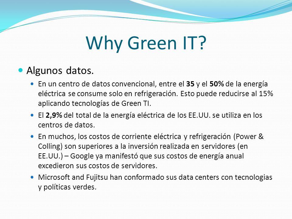Why Green IT? Algunos datos. En un centro de datos convencional, entre el 35 y el 50% de la energía eléctrica se consume solo en refrigeración. Esto p