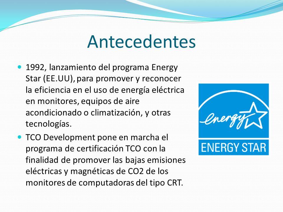 Antecedentes 1992, lanzamiento del programa Energy Star (EE.UU), para promover y reconocer la eficiencia en el uso de energía eléctrica en monitores,