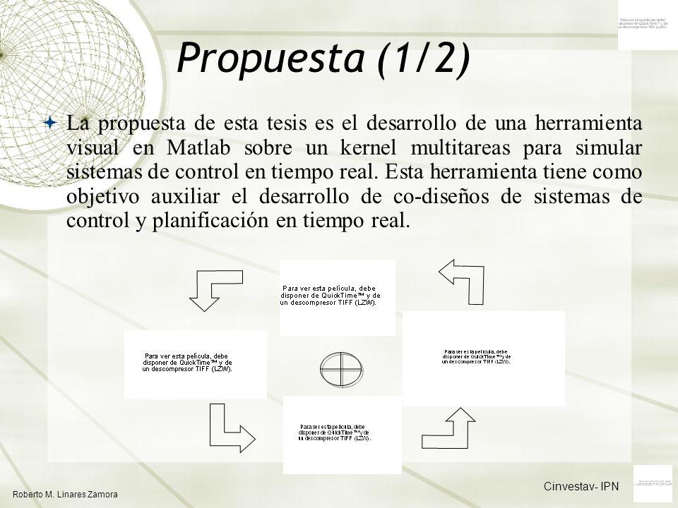 Cinvestav- IPN Roberto M. Linares Zamora Propuesta (1/2) La propuesta de esta tesis es el desarrollo de una herramienta visual en Matlab sobre un kern