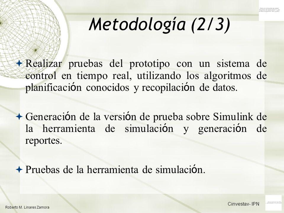 Cinvestav- IPN Roberto M. Linares Zamora Metodología (2/3) Realizar pruebas del prototipo con un sistema de control en tiempo real, utilizando los alg