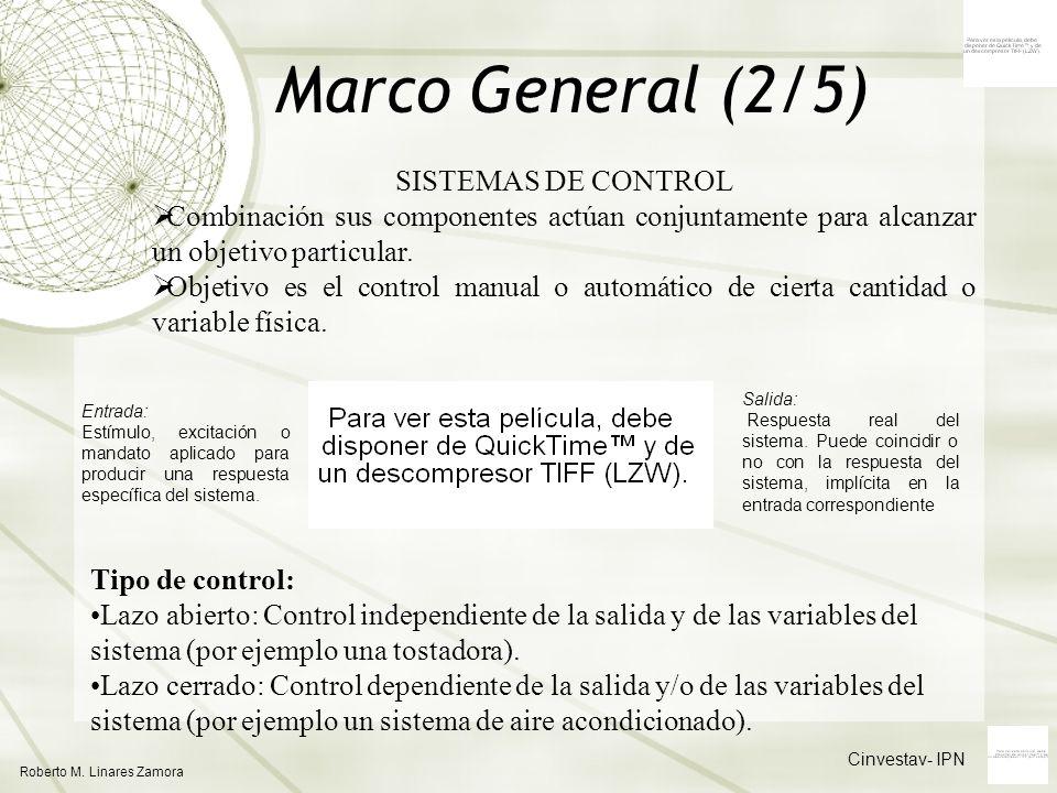 Cinvestav- IPN Roberto M. Linares Zamora Marco General (2/5) SISTEMAS DE CONTROL Combinación sus componentes actúan conjuntamente para alcanzar un obj