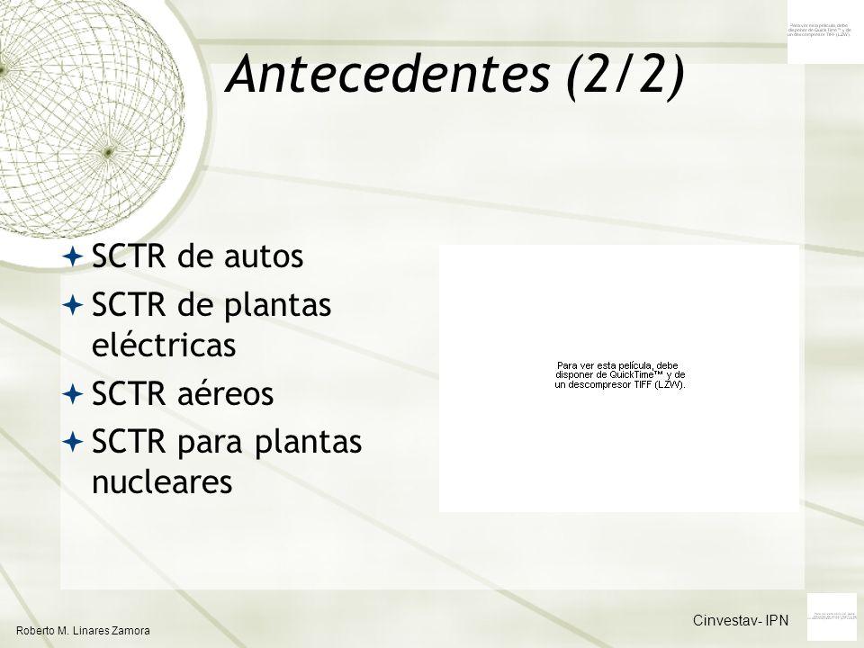Cinvestav- IPN Roberto M. Linares Zamora Antecedentes (2/2) SCTR de autos SCTR de plantas eléctricas SCTR aéreos SCTR para plantas nucleares