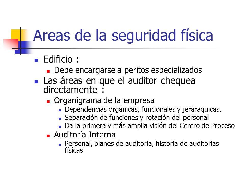 Areas de la seguridad física Edificio : Debe encargarse a peritos especializados Las áreas en que el auditor chequea directamente : Organigrama de la