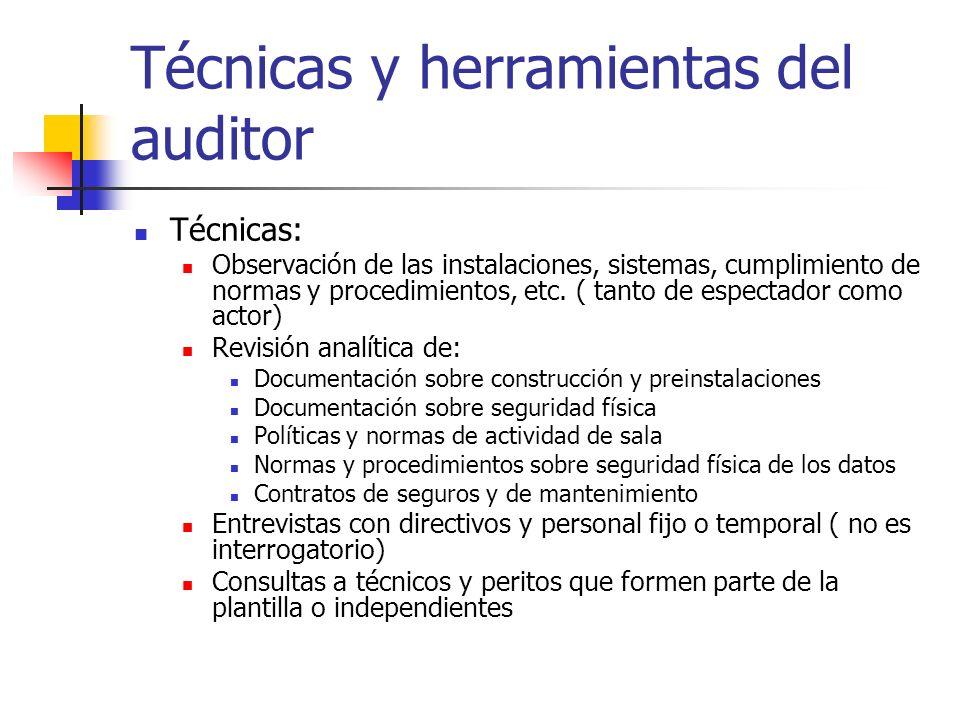 Técnicas y herramientas del auditor Técnicas: Observación de las instalaciones, sistemas, cumplimiento de normas y procedimientos, etc. ( tanto de esp