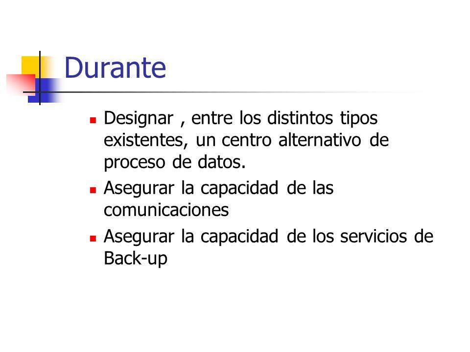 Durante Designar, entre los distintos tipos existentes, un centro alternativo de proceso de datos. Asegurar la capacidad de las comunicaciones Asegura