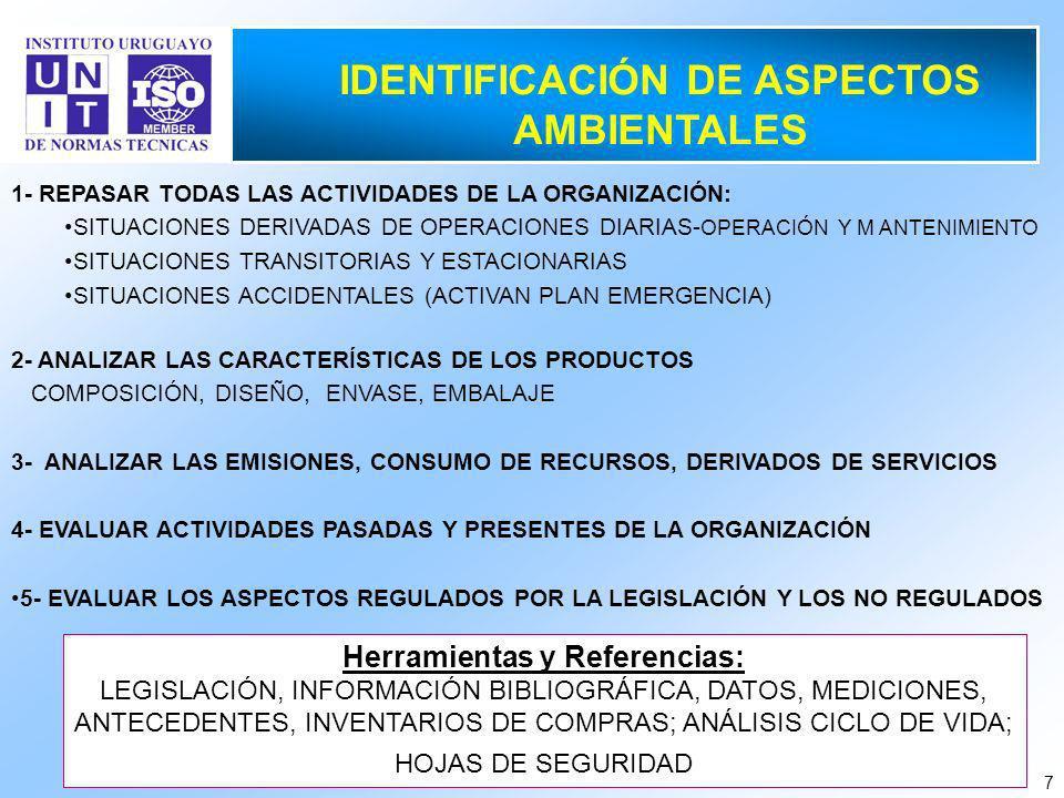 7 1- REPASAR TODAS LAS ACTIVIDADES DE LA ORGANIZACIÓN: SITUACIONES DERIVADAS DE OPERACIONES DIARIAS- OPERACIÓN Y M ANTENIMIENTO SITUACIONES TRANSITORIAS Y ESTACIONARIAS SITUACIONES ACCIDENTALES (ACTIVAN PLAN EMERGENCIA) 2- ANALIZAR LAS CARACTERÍSTICAS DE LOS PRODUCTOS COMPOSICIÓN, DISEÑO, ENVASE, EMBALAJE 3- ANALIZAR LAS EMISIONES, CONSUMO DE RECURSOS, DERIVADOS DE SERVICIOS 4- EVALUAR ACTIVIDADES PASADAS Y PRESENTES DE LA ORGANIZACIÓN 5- EVALUAR LOS ASPECTOS REGULADOS POR LA LEGISLACIÓN Y LOS NO REGULADOS IDENTIFICACIÓN DE ASPECTOS AMBIENTALES Herramientas y Referencias: LEGISLACIÓN, INFORMACIÓN BIBLIOGRÁFICA, DATOS, MEDICIONES, ANTECEDENTES, INVENTARIOS DE COMPRAS; ANÁLISIS CICLO DE VIDA; HOJAS DE SEGURIDAD