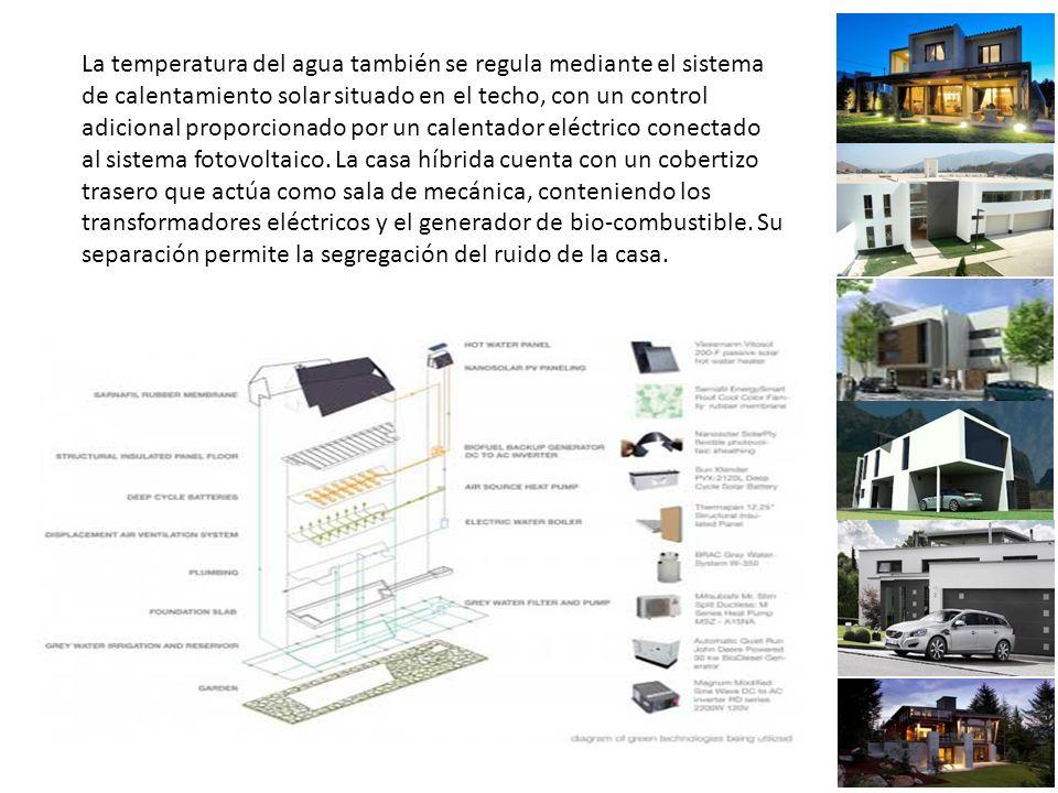 La temperatura del agua también se regula mediante el sistema de calentamiento solar situado en el techo, con un control adicional proporcionado por un calentador eléctrico conectado al sistema fotovoltaico.