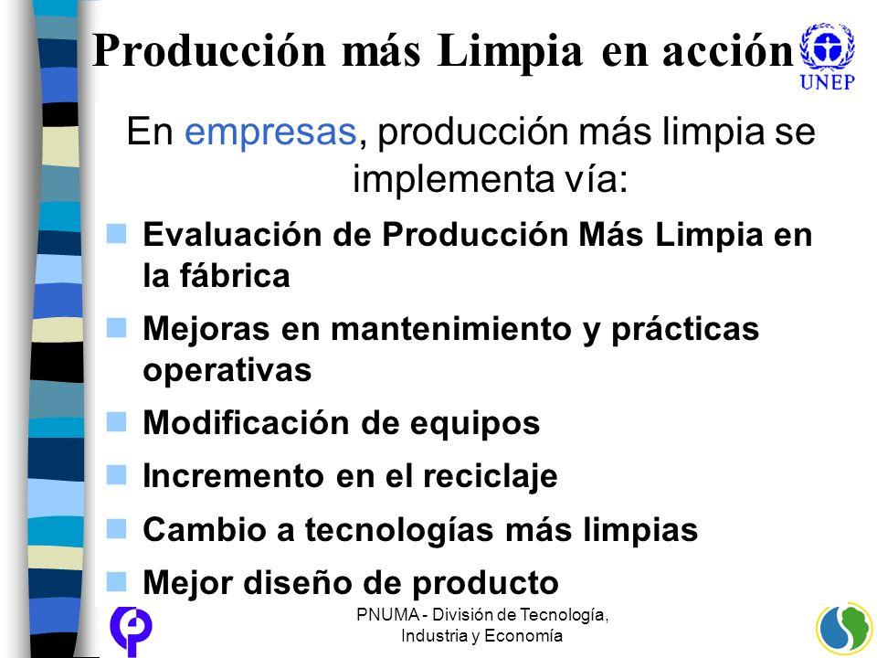 PNUMA - División de Tecnología, Industria y Economía Producción más Limpia en acción En empresas, producción más limpia se implementa vía: Evaluación