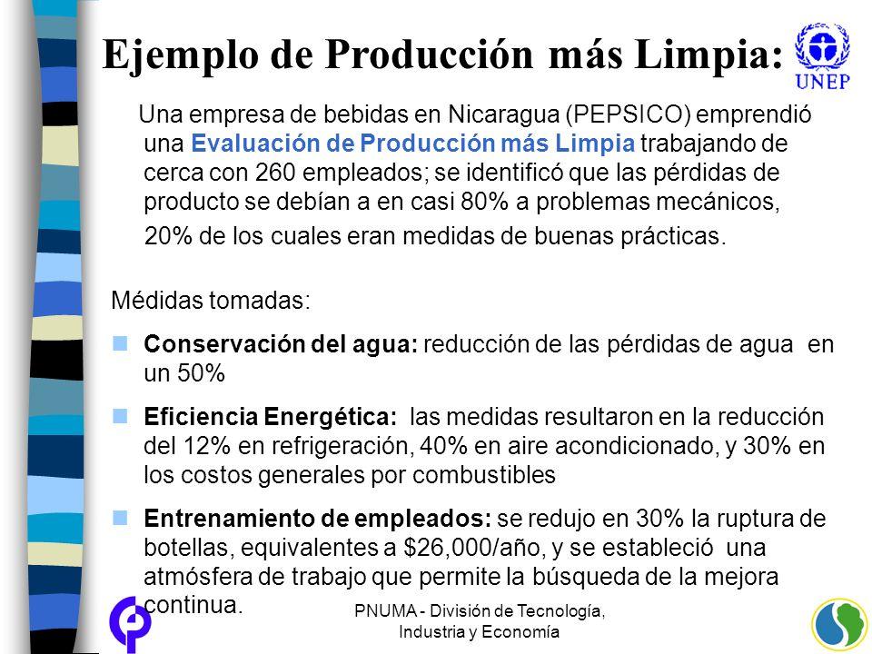 PNUMA - División de Tecnología, Industria y Economía Ejemplo de Producción más Limpia: Una empresa de bebidas en Nicaragua (PEPSICO) emprendió una Eva