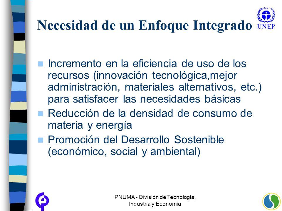 PNUMA - División de Tecnología, Industria y Economía Necesidad de un Enfoque Integrado Incremento en la eficiencia de uso de los recursos (innovación