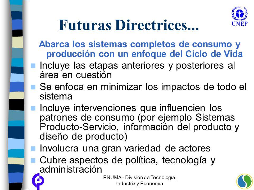 PNUMA - División de Tecnología, Industria y Economía Futuras Directrices... Abarca los sistemas completos de consumo y producción con un enfoque del C
