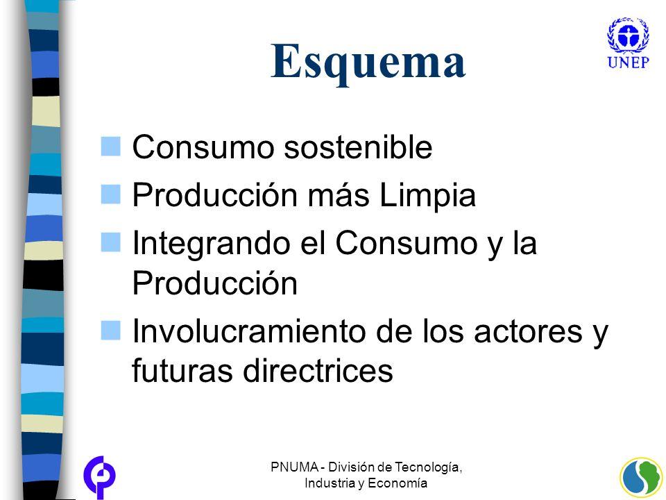 PNUMA - División de Tecnología, Industria y Economía Esquema Consumo sostenible Producción más Limpia Integrando el Consumo y la Producción Involucram
