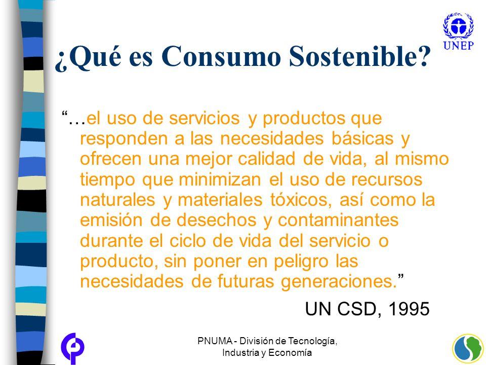 PNUMA - División de Tecnología, Industria y Economía ¿Qué es Consumo Sostenible? …el uso de servicios y productos que responden a las necesidades bási
