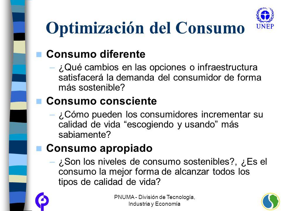 PNUMA - División de Tecnología, Industria y Economía Optimización del Consumo Consumo diferente –¿Qué cambios en las opciones o infraestructura satisf