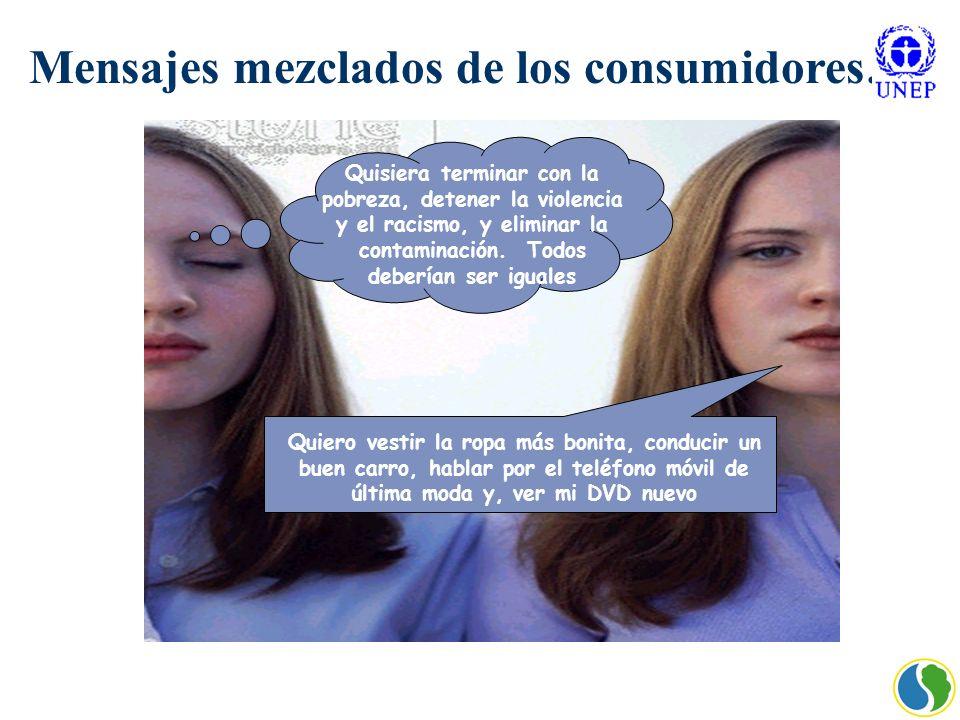Mensajes mezclados de los consumidores … Quisiera terminar con la pobreza, detener la violencia y el racismo, y eliminar la contaminación. Todos deber