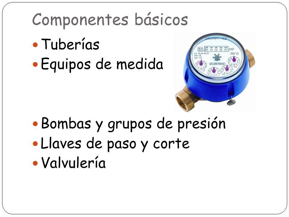 Componentes básicos Tuberías Equipos de medida Bombas y grupos de presión Llaves de paso y corte Valvulería