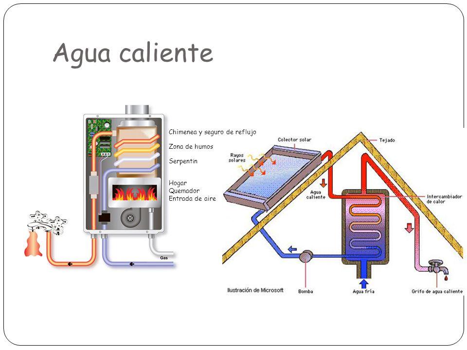 Agua caliente Chimenea y seguro de reflujo Zona de humos Serpent í n Hogar Quemador Entrada de aire