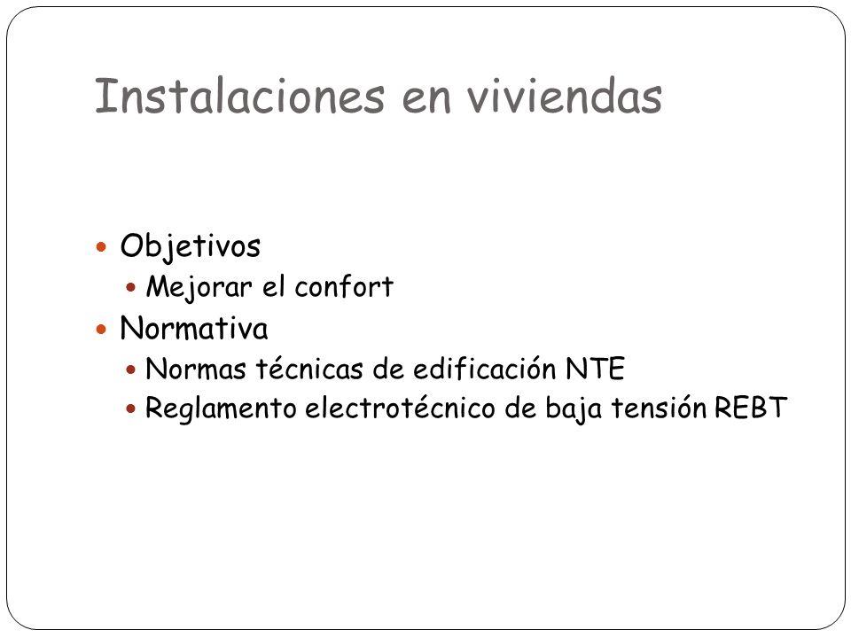 Objetivos Mejorar el confort Normativa Normas técnicas de edificación NTE Reglamento electrotécnico de baja tensión REBT