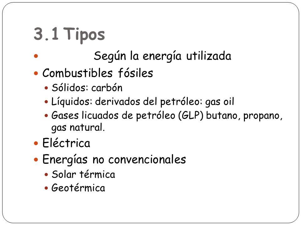3.1Tipos Según la energía utilizada Combustibles fósiles Sólidos: carbón Líquidos: derivados del petróleo: gas oil Gases licuados de petróleo (GLP) bu