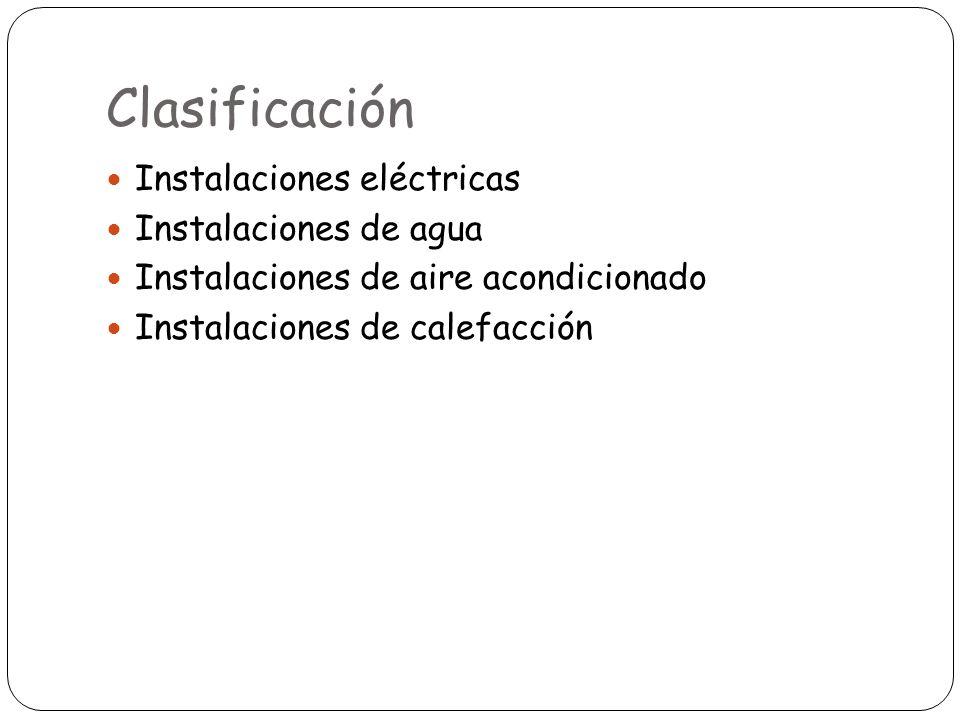 Clasificación Instalaciones eléctricas Instalaciones de agua Instalaciones de aire acondicionado Instalaciones de calefacción