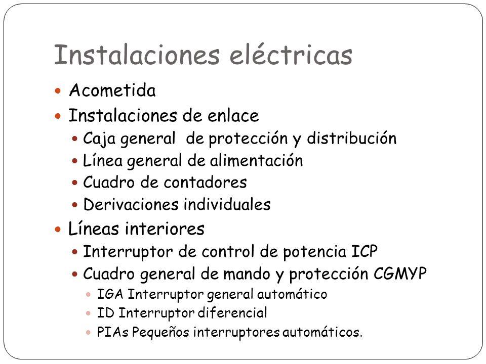 Instalaciones eléctricas Acometida Instalaciones de enlace Caja general de protección y distribución Línea general de alimentación Cuadro de contadore