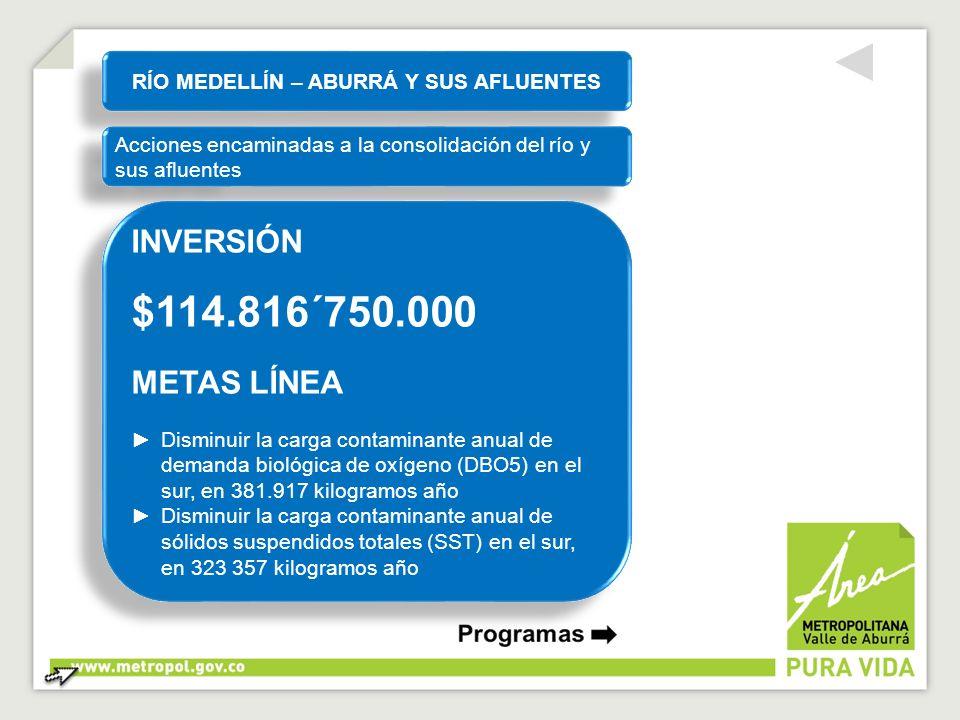 RÍO MEDELLÍN – ABURRÁ Y SUS AFLUENTES Acciones encaminadas a la consolidación del río y sus afluentes INVERSIÓN $114.816´750.000 METAS LÍNEA Disminuir