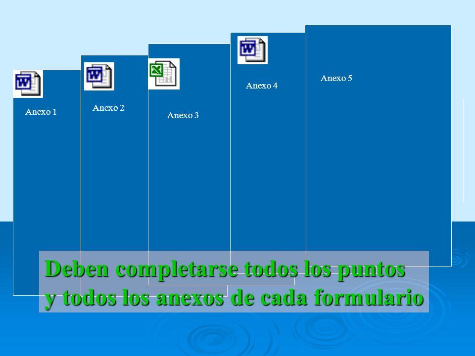 Anexo 1 Anexo 2 Anexo 3 Anexo 4 Deben completarse todos los puntos y todos los anexos de cada formulario Anexo 5
