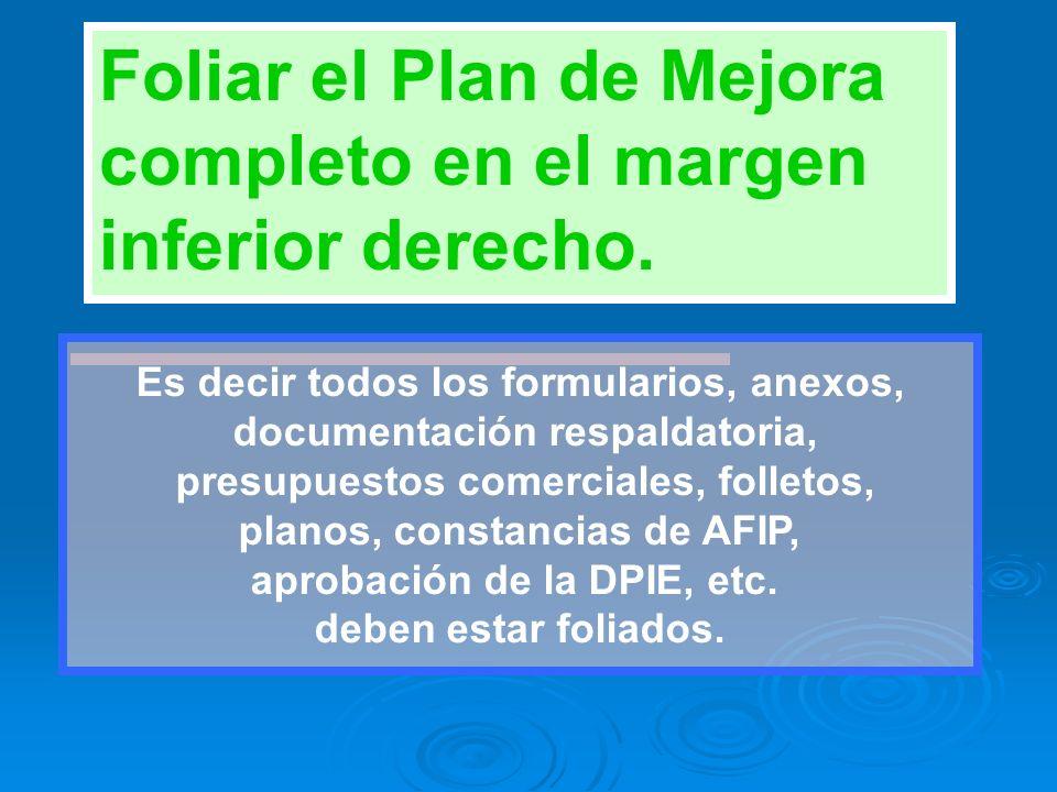 Foliar el Plan de Mejora completo en el margen inferior derecho.