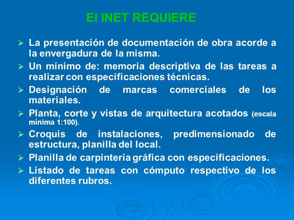 La presentación de documentación de obra acorde a la envergadura de la misma.