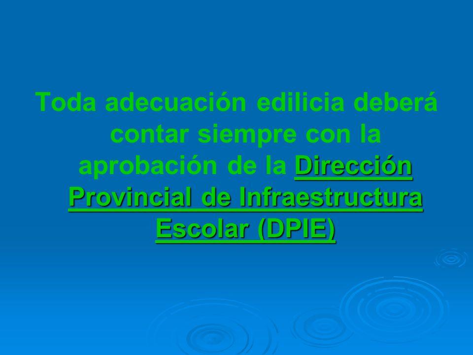 Dirección Provincial de Infraestructura Escolar (DPIE) Toda adecuación edilicia deberá contar siempre con la aprobación de la Dirección Provincial de Infraestructura Escolar (DPIE)