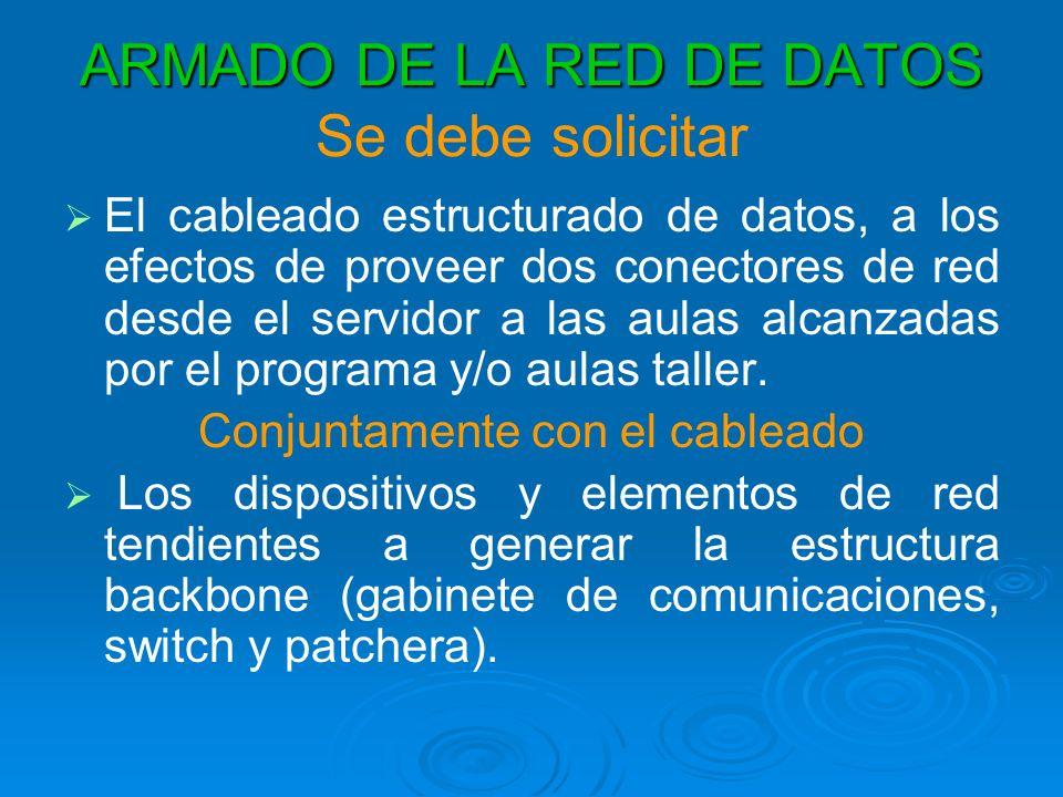 ARMADO DE LA RED DE DATOS ARMADO DE LA RED DE DATOS Se debe solicitar El cableado estructurado de datos, a los efectos de proveer dos conectores de red desde el servidor a las aulas alcanzadas por el programa y/o aulas taller.