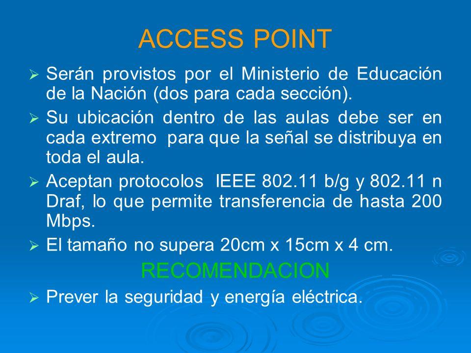 ACCESS POINT Serán provistos por el Ministerio de Educación de la Nación (dos para cada sección).