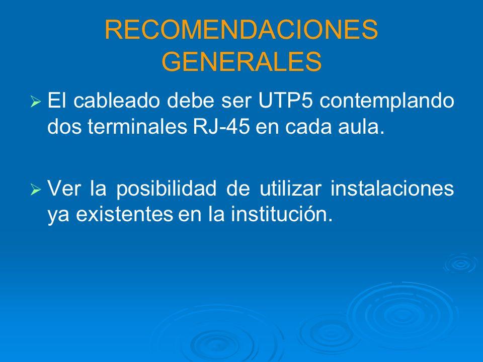 RECOMENDACIONES GENERALES El cableado debe ser UTP5 contemplando dos terminales RJ-45 en cada aula.