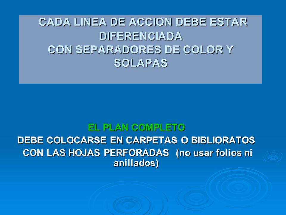 EL PLAN COMPLETO DEBE COLOCARSE EN CARPETAS O BIBLIORATOS CON LAS HOJAS PERFORADAS (no usar folios ni anillados) CON LAS HOJAS PERFORADAS (no usar folios ni anillados) CADA LINEA DE ACCION DEBE ESTAR DIFERENCIADA CON SEPARADORES DE COLOR Y SOLAPAS