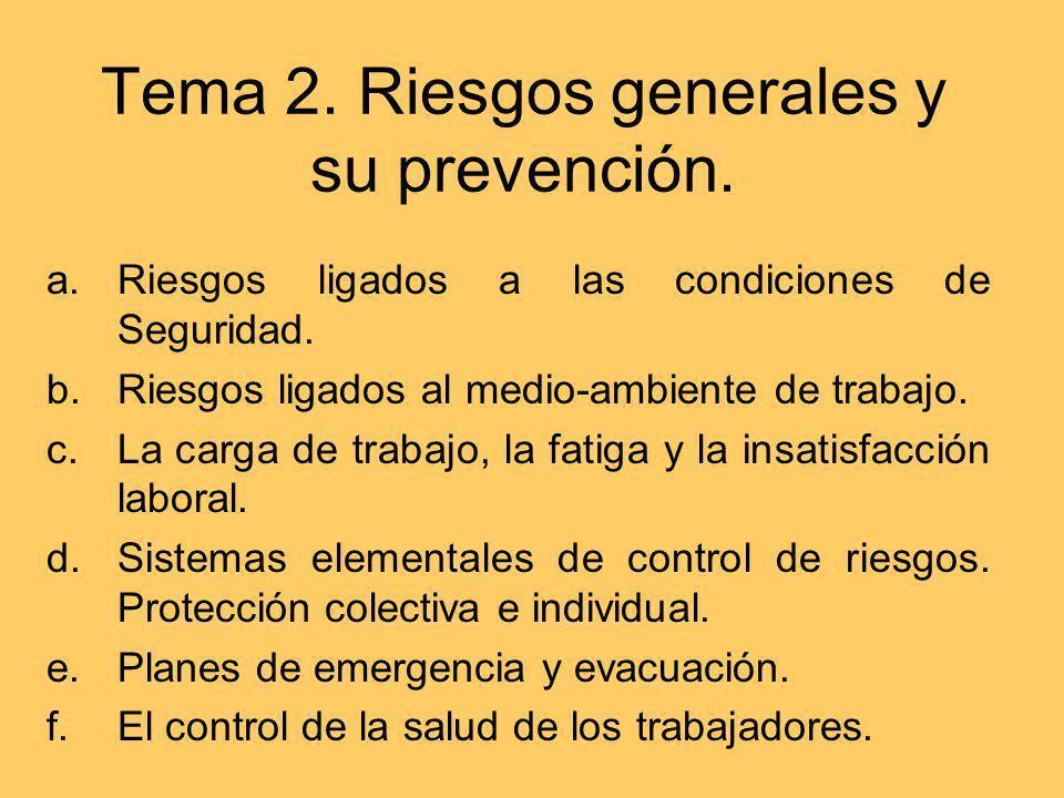 Tema 2. Riesgos generales y su prevención. a.Riesgos ligados a las condiciones de Seguridad. b.Riesgos ligados al medio-ambiente de trabajo. c.La carg