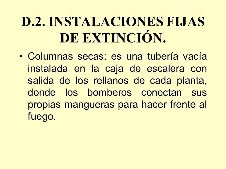 D.2. INSTALACIONES FIJAS DE EXTINCIÓN. Columnas secas: es una tubería vacía instalada en la caja de escalera con salida de los rellanos de cada planta