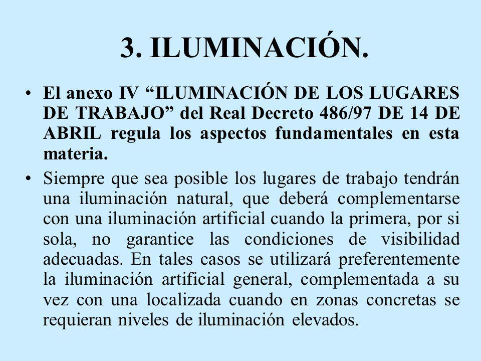 3. ILUMINACIÓN. El anexo IV ILUMINACIÓN DE LOS LUGARES DE TRABAJO del Real Decreto 486/97 DE 14 DE ABRIL regula los aspectos fundamentales en esta mat