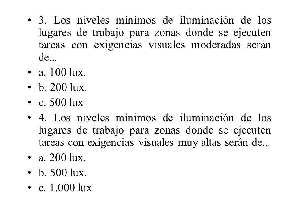 3. Los niveles mínimos de iluminación de los lugares de trabajo para zonas donde se ejecuten tareas con exigencias visuales moderadas serán de... a. 1