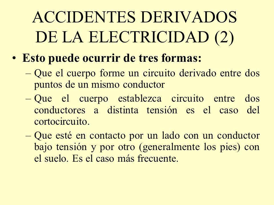 ACCIDENTES DERIVADOS DE LA ELECTRICIDAD (2) Esto puede ocurrir de tres formas: –Que el cuerpo forme un circuito derivado entre dos puntos de un mismo