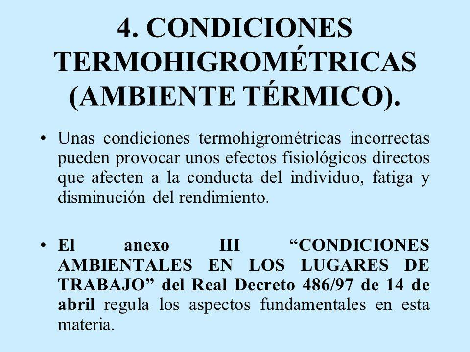 4. CONDICIONES TERMOHIGROMÉTRICAS (AMBIENTE TÉRMICO). Unas condiciones termohigrométricas incorrectas pueden provocar unos efectos fisiológicos direct
