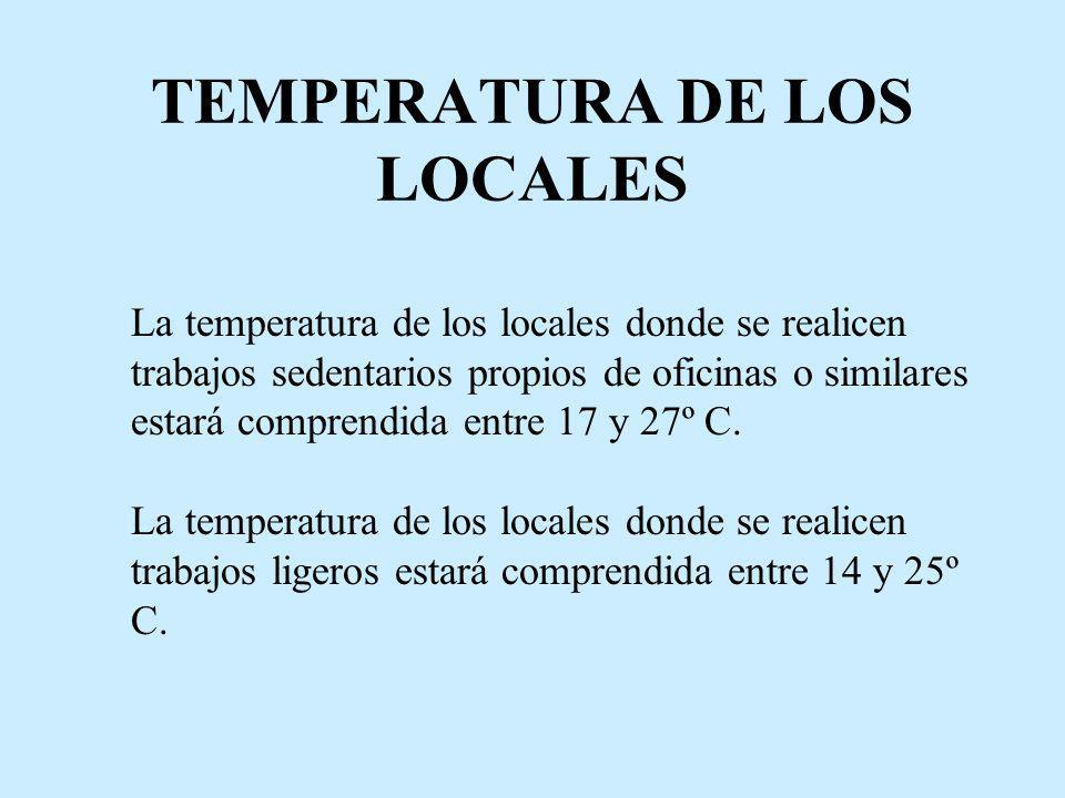 TEMPERATURA DE LOS LOCALES La temperatura de los locales donde se realicen trabajos sedentarios propios de oficinas o similares estará comprendida ent