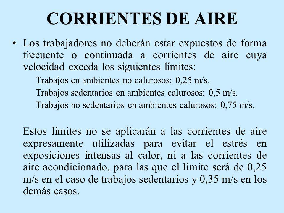 CORRIENTES DE AIRE Los trabajadores no deberán estar expuestos de forma frecuente o continuada a corrientes de aire cuya velocidad exceda los siguient
